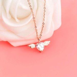 Dainty Heart Angel Pendant Necklace